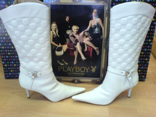 Playboy Original Healed Leather Cream/White Boots - Calamity with Rabbit  Head Buckle