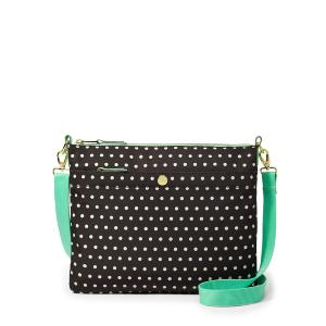 Fossil Key-Per Top Zip Bag in Black & Bone Polka Dot